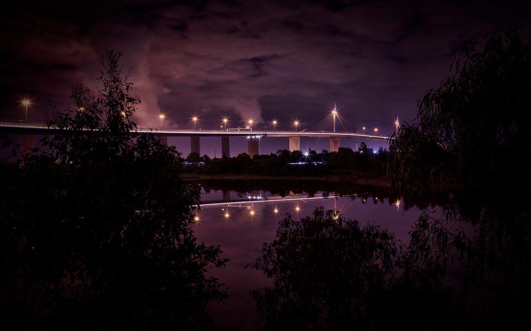 Night Bridge Reflection
